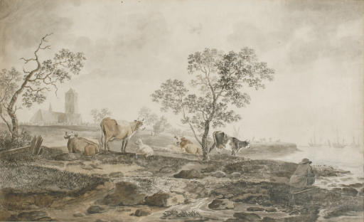 A river landscape with a herdsman resting and cows grazing near the banks, a church beyond