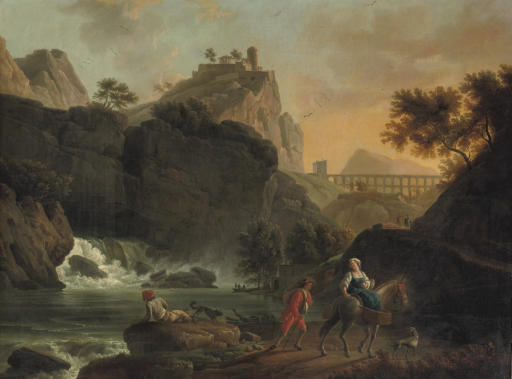 A mountainous river landscape with travellers on a track, a town on a hill and a roman acquaduct beyond