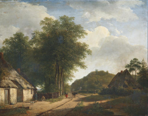 A woman on a sandy path in summer