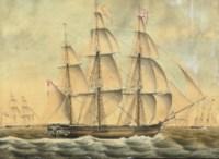 The sailing frigate 'Johanna' in calm water