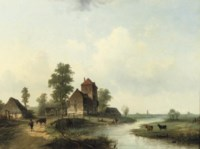 A polder landscape with figures by a bridge