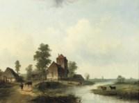 A polder landscape with figures by a bridge