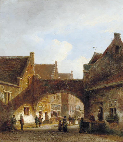 A town gate in summer