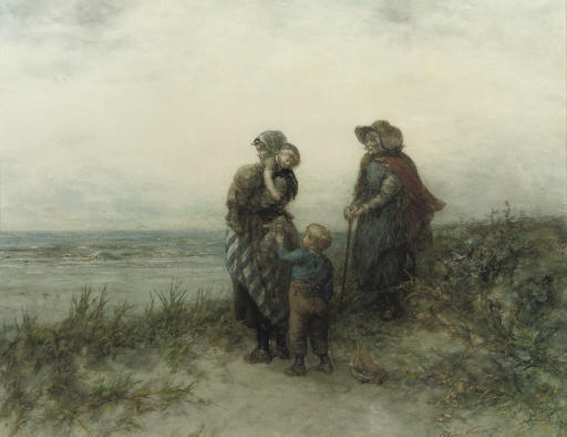 Fisherwomen waiting in the dunes