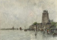 The harbour of Dordrecht by moonlight