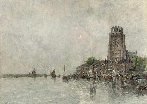 The harbour of Dordrecht by moonlight