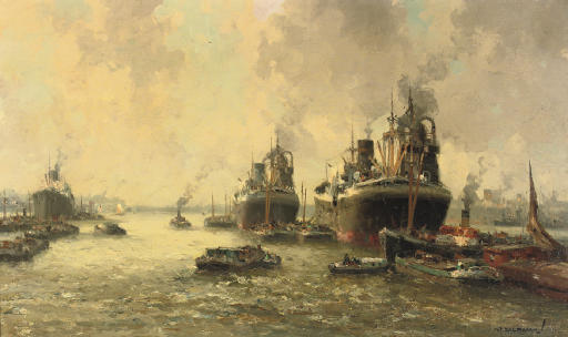 Steamers arriving at the port of Rotterdam