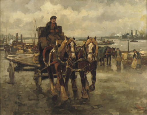 A horse carriage in the busy harbour of Rotterdam
