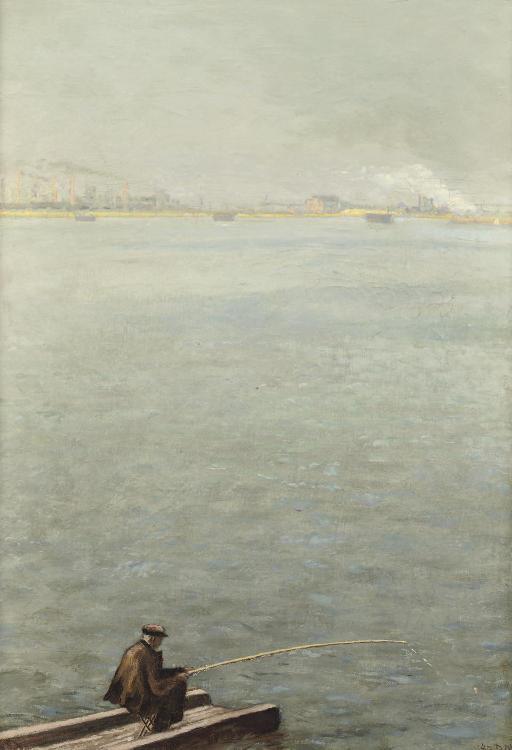 Angler on the river Maas, Rotterdam