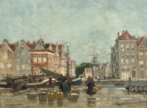 Unloading the catch along an Amsterdam canal