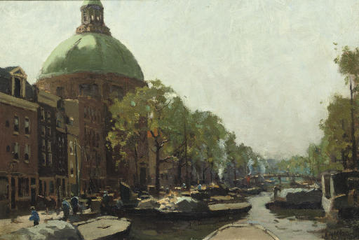 Barges in the Singel with the Koepelkerk, Amsterdam