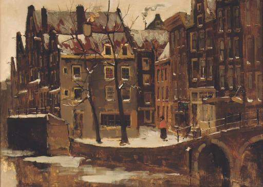 Grimburgwal in winter, Amsterdam