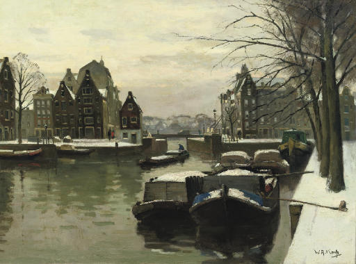 Snowcovered boats on the Houtkopersburgwal, Amsterdam