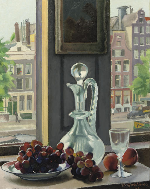 A still life with fruits with a view from the artist's studio, Prinsengracht, Amsterdam