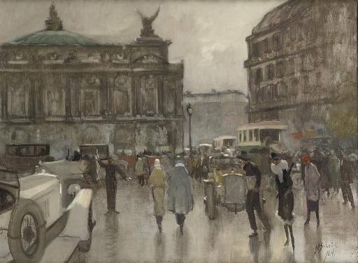 Rush hour on the Place de L'Opéra, Paris