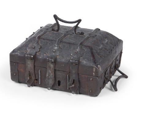 AN IRON-MOUNTED 'CUIR CISELE' CASKET