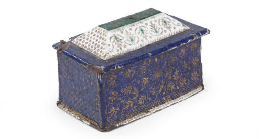 AN ENAMELLED AND GILT CASKET