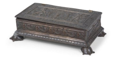 A BRONZE WRITING CASKET
