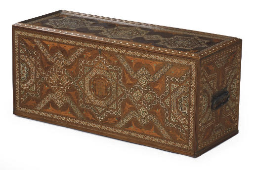 A HISPANO-MORESQUE WALNUT, FRUITWOOD AND IVORY MARQUETRY TABLE CABINET 'ESCRITORIO'