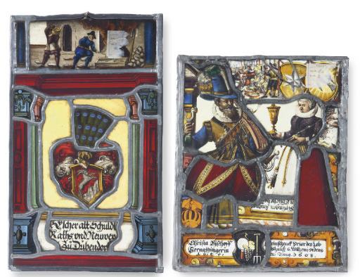 FOUR VARIOUS STAINED-GLASS FRAGMENTARY PANELS