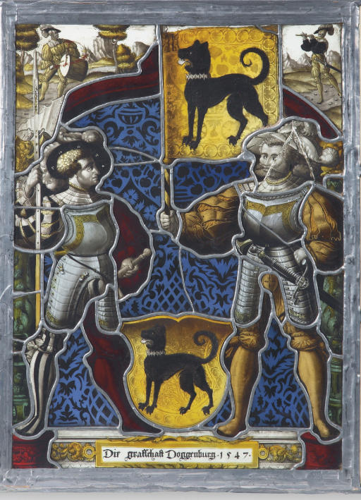 A SWISS STAINED-GLASS FRAGMENTARY PANEL