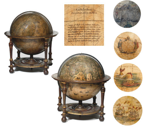 A LARGE PAIR OF DUTCH 68 CM. (26 IN.) LIBRARY GLOBES