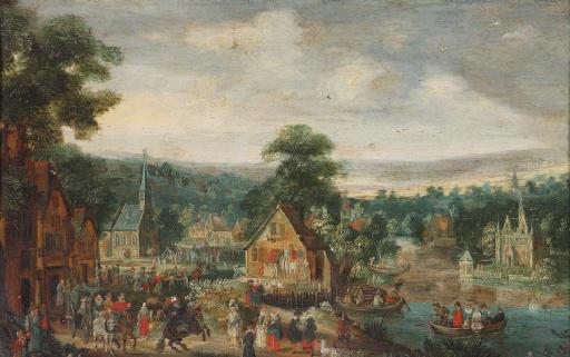 A 'kermesse' in a village near a river