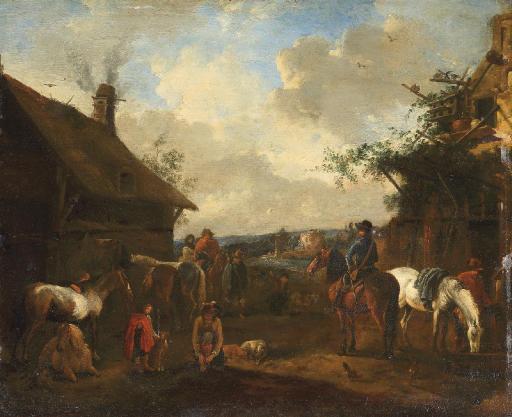 Horsemen resting outside a farmstead
