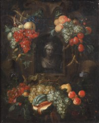 A sculpted bust in a in a niche surrounded with swags of fruit