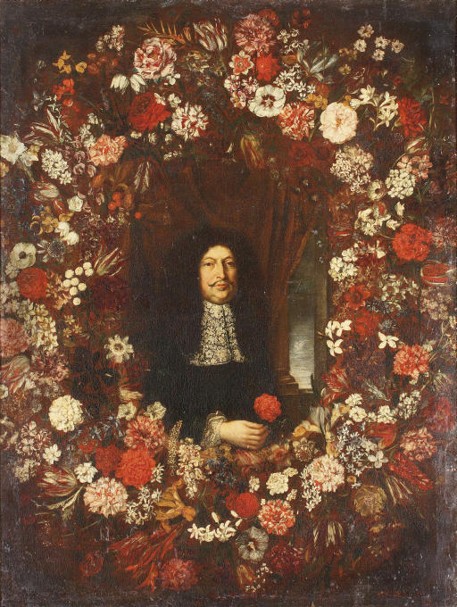 A portrait of a gentleman surrounded by a garland of mixed flowers