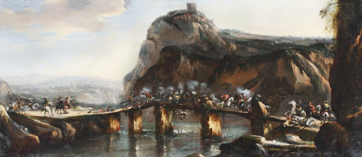 A cavalry skirmish on a bridge in a rocky river landscape