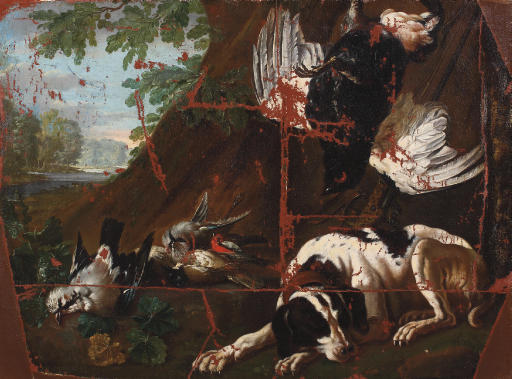 A hunting dog surrounded by game outside a cabin in a landscape