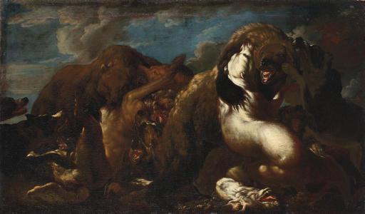 Hounds attacking a bear