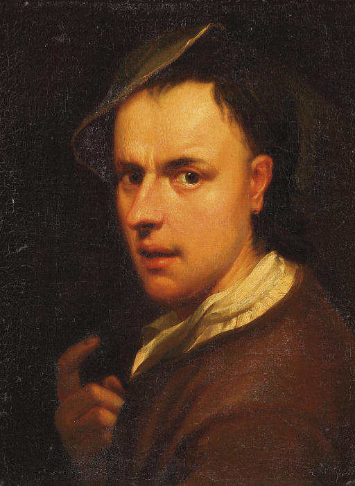 Portrait of a young man, bust-length, in a red costume with a white jabot