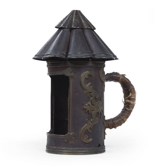 A BRASS-MOUNTED IRON LANTERN