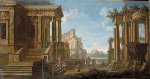 A capriccio view of an ancient town with the Colloseum in the distance