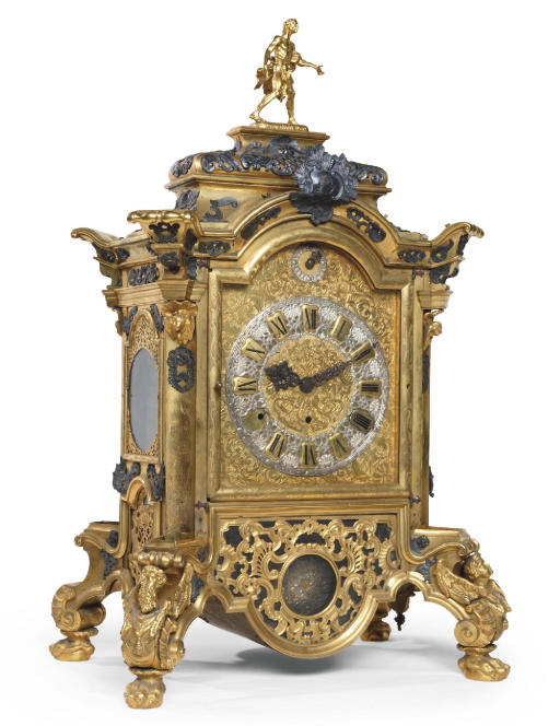 A LARGE WHITE-METAL MOUNTED, GILT- AND ENGRAVED BRASS GRANDE SONNERIE TABLE CLOCK