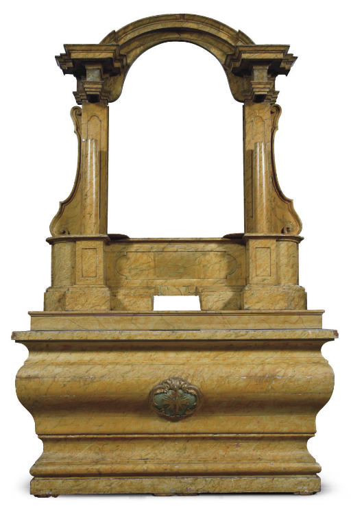 A PARCEL-GILT AND YELLOW-MARBLEIZED ALTAR