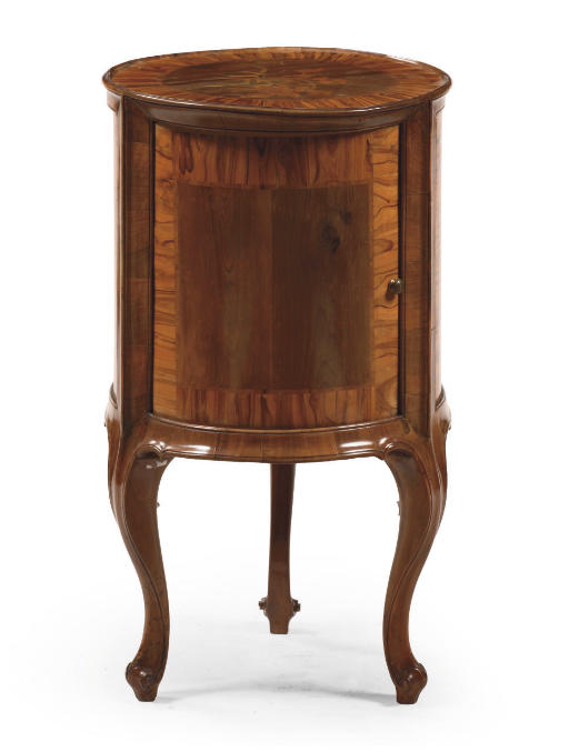AN AUSTRIAN FRUITWOOD AND WALNUT MARQUETRY OCCASIONAL TABLE 'TROMMELTISCH'