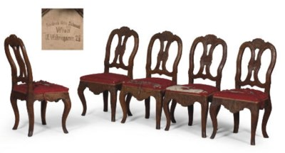 A SET OF FIVE AUSTRIAN CARVED