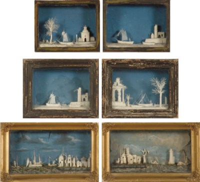 SIX DUTCH CARVED IVORY DIORAMA
