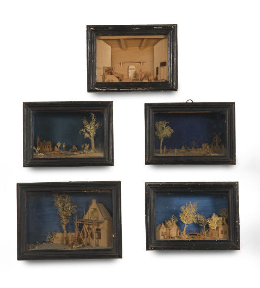 FIVE DUTCH CARVED WOOD AND CUT