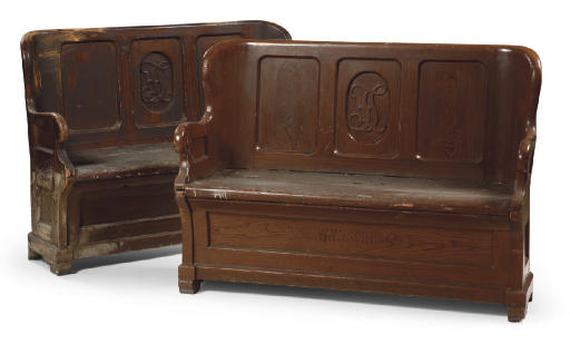 A PAIR OF AUSTRIAN GRAINED HALL BENCHES