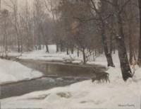 Deer by a stream in winter