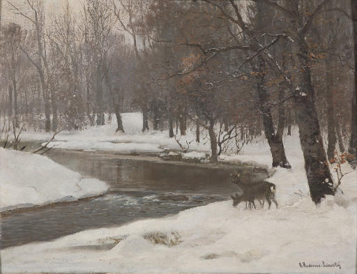Deer by a stream in winter