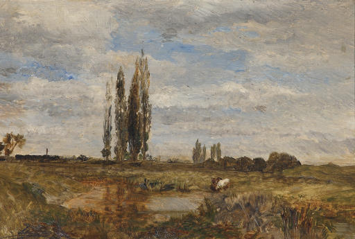 Landschaft bei Lundenburg: Watering cows near Lundenburg
