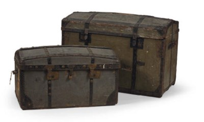 A BROWN LEATHER SUITCASE AND C