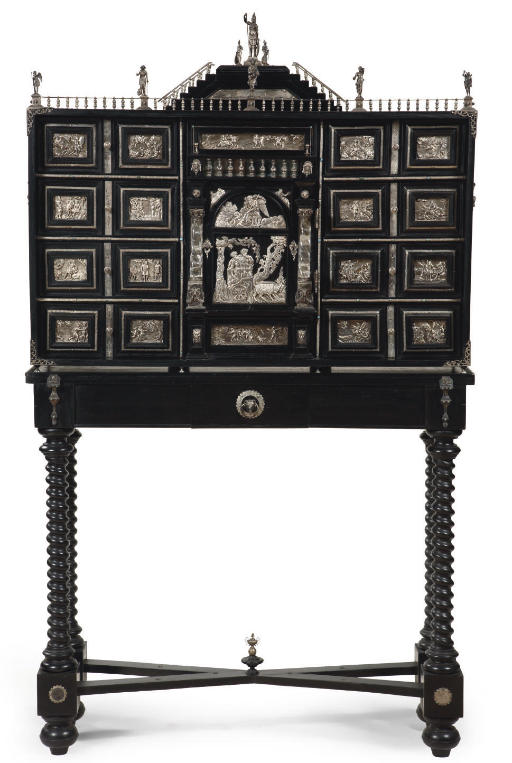 A SILVER-MOUNTED EBONIZED AND