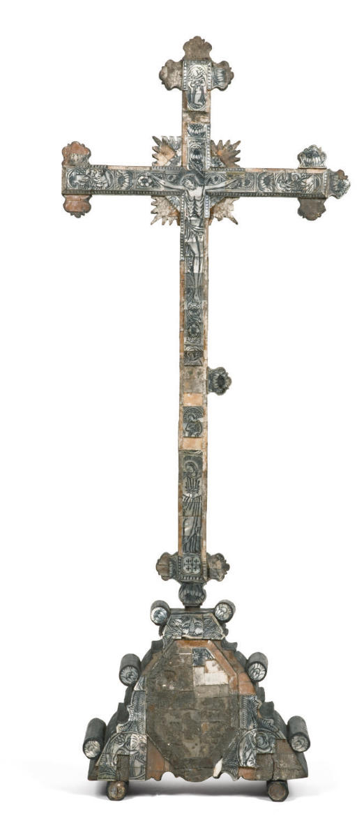 AN ENGRAVED MOTHER-OF-PEARL AND EBONIZED CRUCIFIX