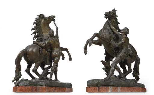 A PAIR OF BRONZE GROUPS OF THE MARLY HORSES